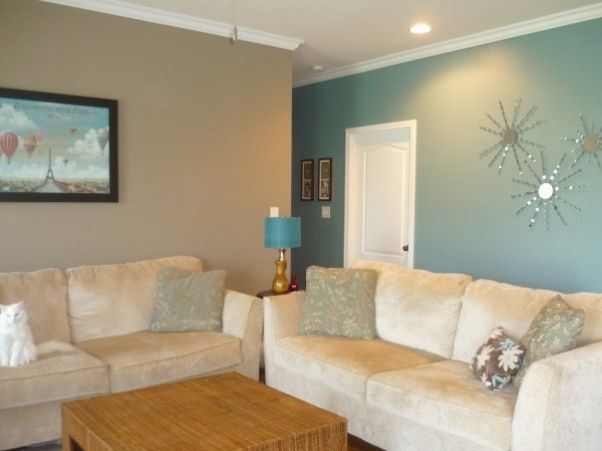 Teal and tan walls house pinterest the playroom tan for Wall painting living room ideas