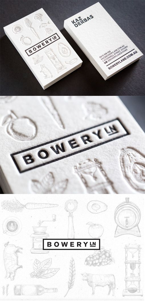Eclectic Mix Of Modern And Vintage Design On A Business Card For A Restaurant