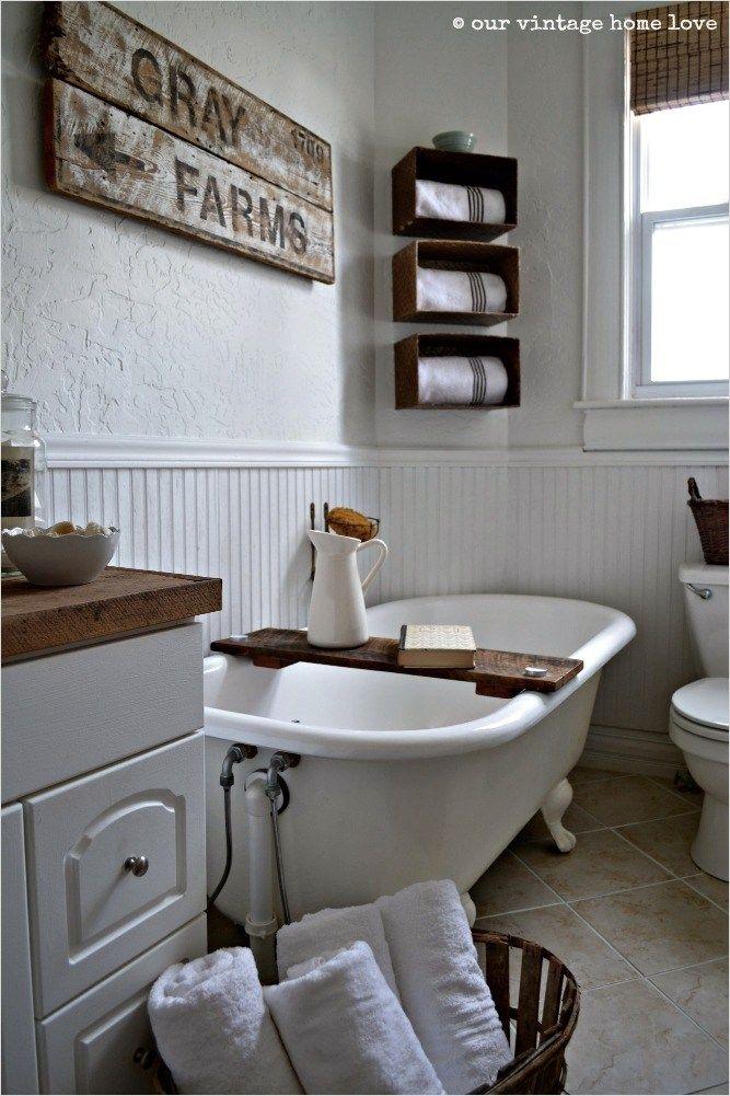 45 Amazing Ideas Farmhouse Bathroom Wall Art 28 Our Vintage Home Love Farmhous Farmhouse Bathroom Accessories Small Farmhouse Bathroom Farmhouse Bathroom Decor