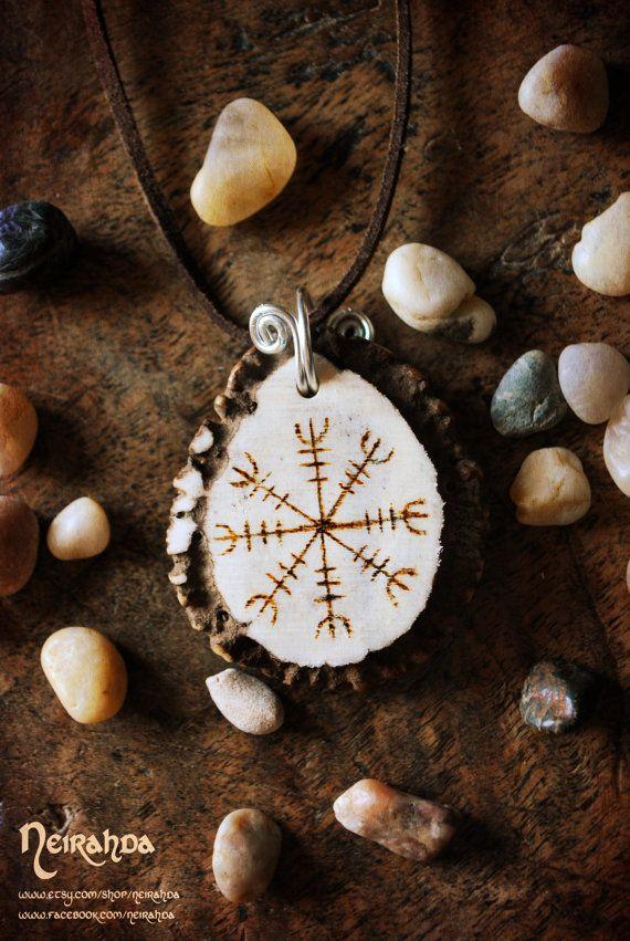 Aegishjalmur antler rosette pendant