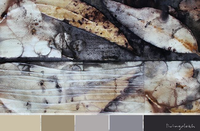 watercolour paper dyed and printed with eucalyptus leaves and dyes, beautiful subdued colour palette - livingcloth.com