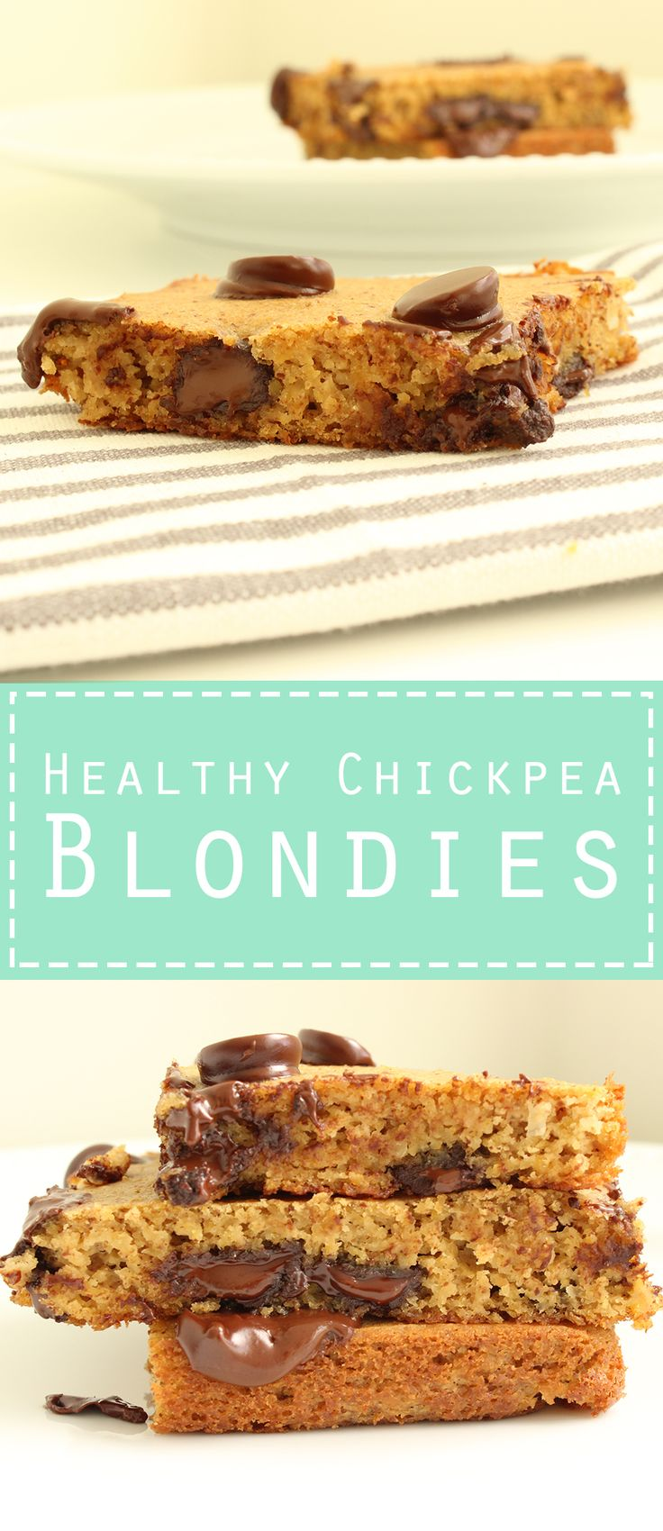 Healthy Flourless Chickpea Blondies. Gluten Free. Moist and delicious!