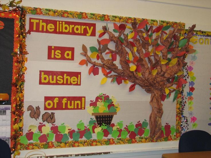Fall library bulletin board ideas for Fall bulletin board ideas