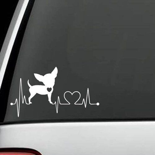 Is your Chihuahua the love of your life? Show Your Love With This Exclusive Chihuahua HeartBeat Design Handmade in the USA decal for Car, Van, SUV and Truck! De