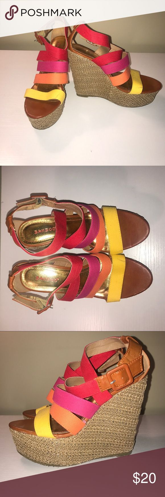 Multi-colored Wedges Worn maybe one time, in perfect condition! BAMBOO Shoes Wedges