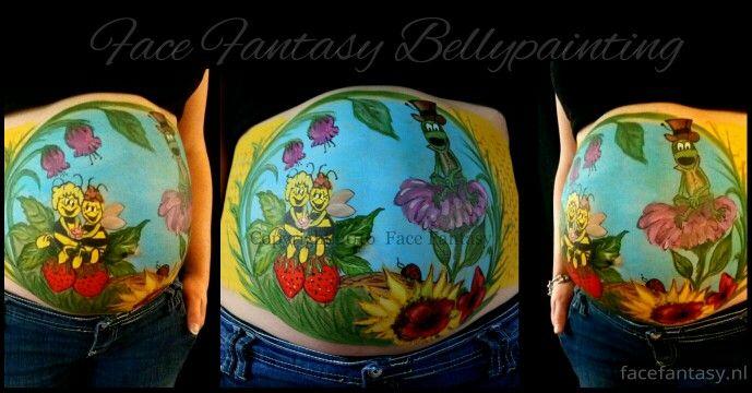 Bellypaint Bellypainting Maya de Bij Buikschildering Zwanger  Face Fantasy Schminken Amersfoort