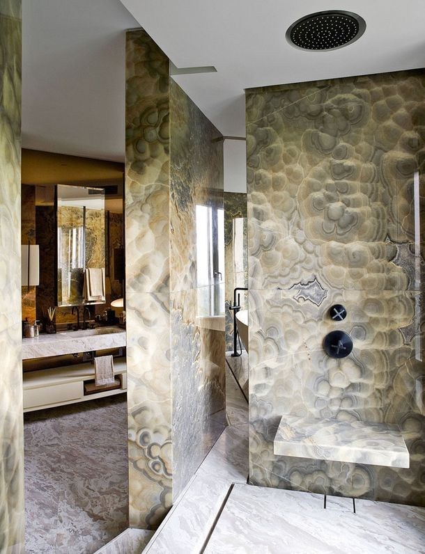 Opus Hong Kong Show Apartment by Yabu Pushelberg onyx marble shower