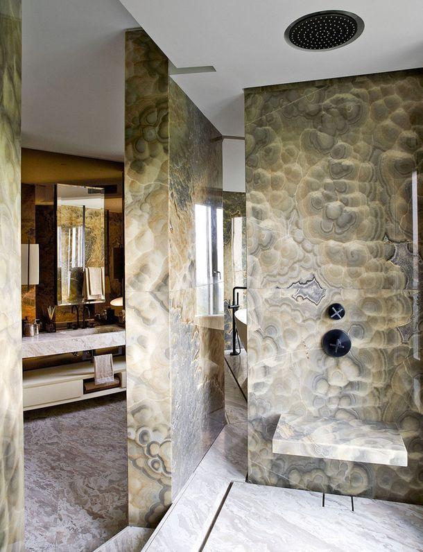 Opus Hong Kong Show Apartment by Yabu Pushelberg onyx marble shower