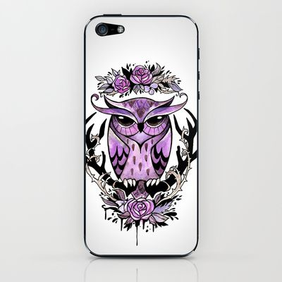 Hand-painted owl tattoo iPhone & iPod Skin by The Fanatic Calligrapher - $15.00