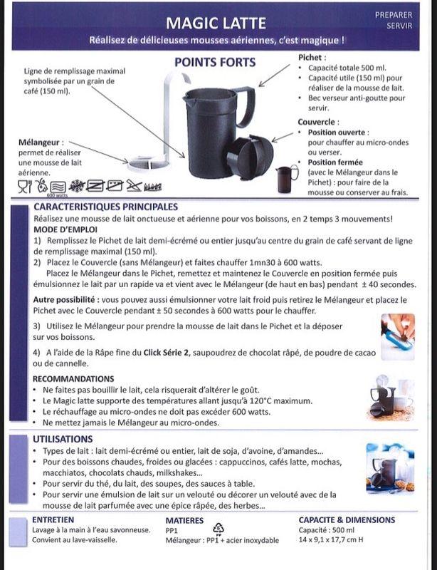 Fiche Tupperware: Magic Latte
