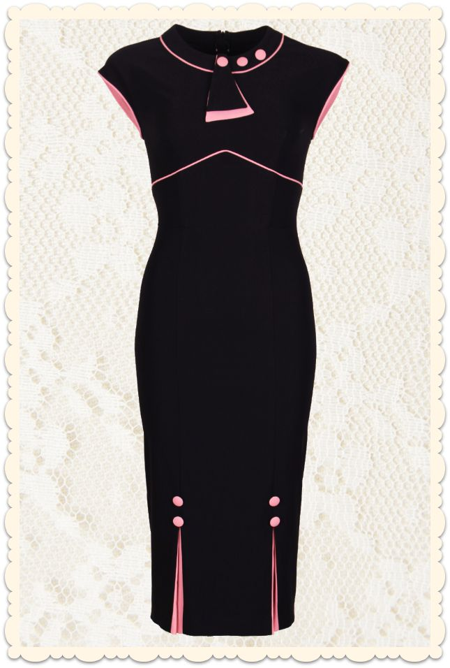 Robe crayon vintage années 30 Bombshell noire / rose