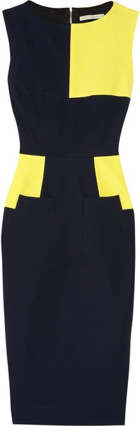 victoria beckham Colorblock Stretchcrepe Dress - Lyst