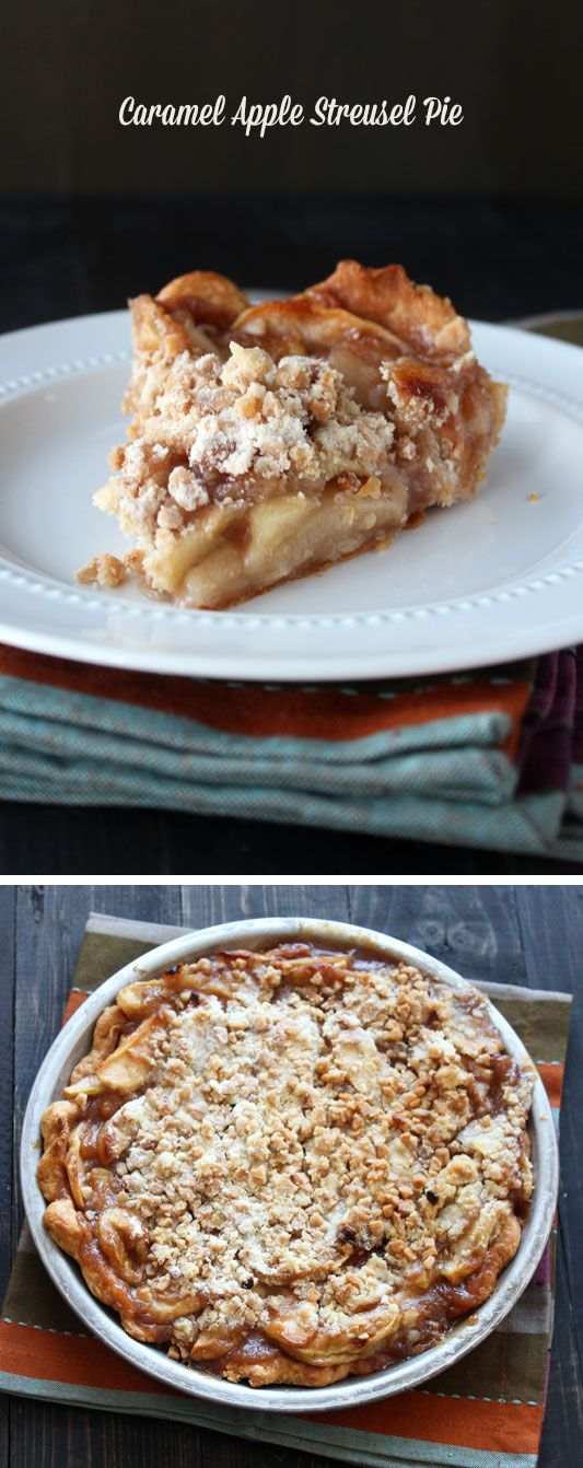 This Caramel Apple Streusel Pie features a rich and buttery crust, an easy homemade caramel apple filling, and a toffee streusel topping.