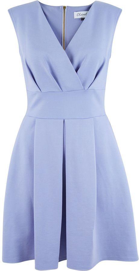 Closet Cross Over Box Pleat Dress