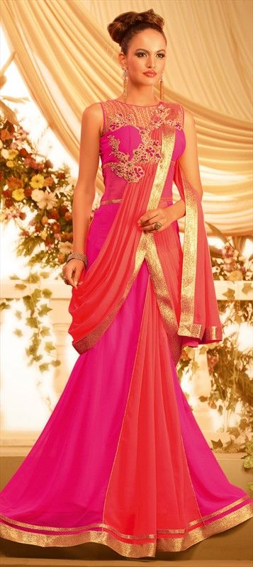 427164 Pink and Majenta  color family gown in Georgette fabric with Lace,Machine Embroidery,Patch,Stone work .