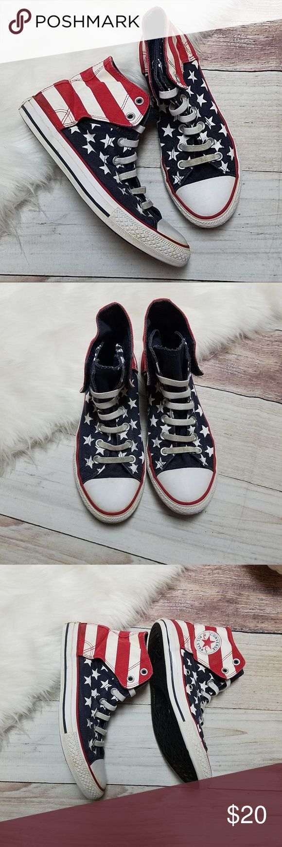 "Converse high tops american flag design Converse high tops. American flag design. Size 5. Great condition. Shoes measure 10"" long. Converse Shoes Sneakers"