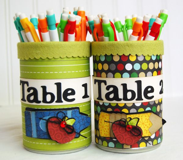 Classroom Ideas Using Cricut ~ Quot very fun table number pencil holders made with the new