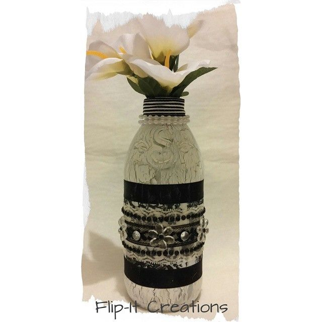 Second shabby chic Snapple bottle I created #flipitcreations #handmade #homedecor #diy #createforless #nationcrafty #craftygirl #michaelsstores #bottlecrafts #bottledecor #instacraft #decor #original #craft #blackandwhite #instahandmade #gift #heartmade #followme #cre8time #shabbychic