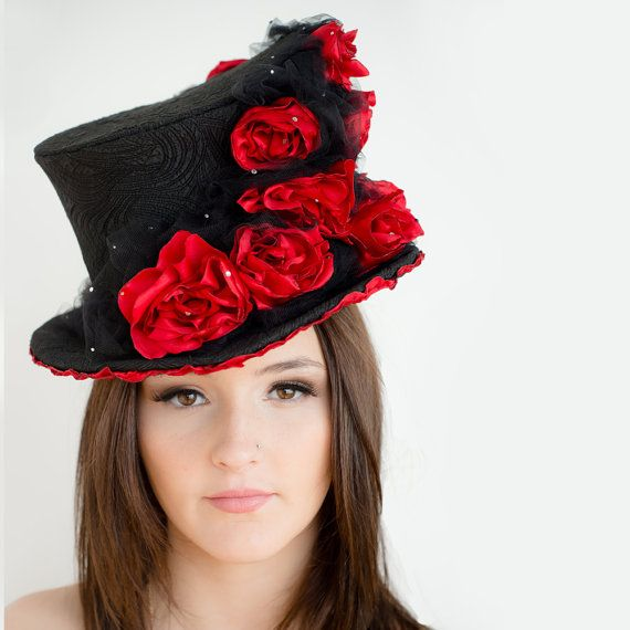 Rose covered top hat black and red by TaraMDesigns on Etsy