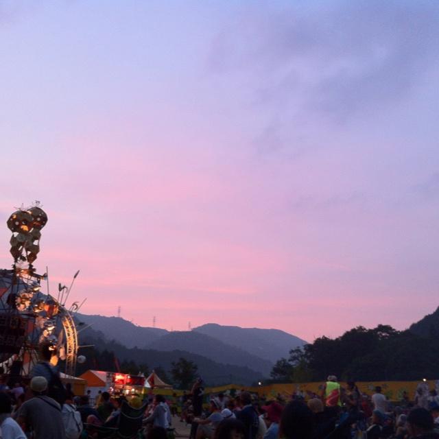 Beautiful sunset view at ORANGE COURT on July 27th 2012 #fujirock #frf