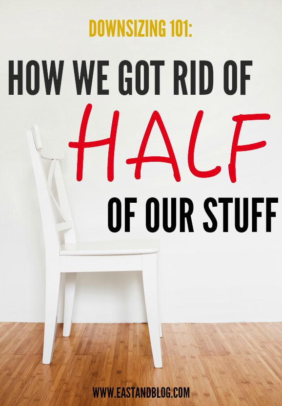 Need less clutter? This is how we downsized and got rid of half of our stuff. Includes questions to ask yourself to determine what to toss and what to save.