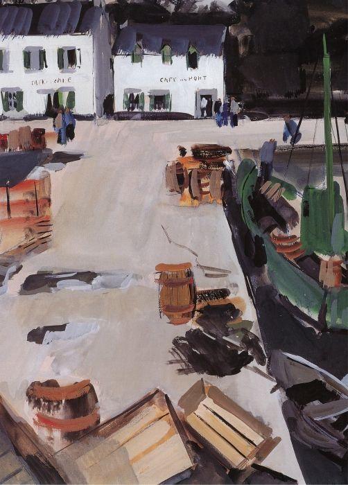"""""""La cale de la Forêt-Fouesnant"""",   I956,  Jean Le Merdy.   Beaucoup de suggestion dans l'oeuvre ici de Jean Le Merdy . Simplification , schématisation caractérisent  l'endroit de vie ( café , la cale aux bateaux ..)"""