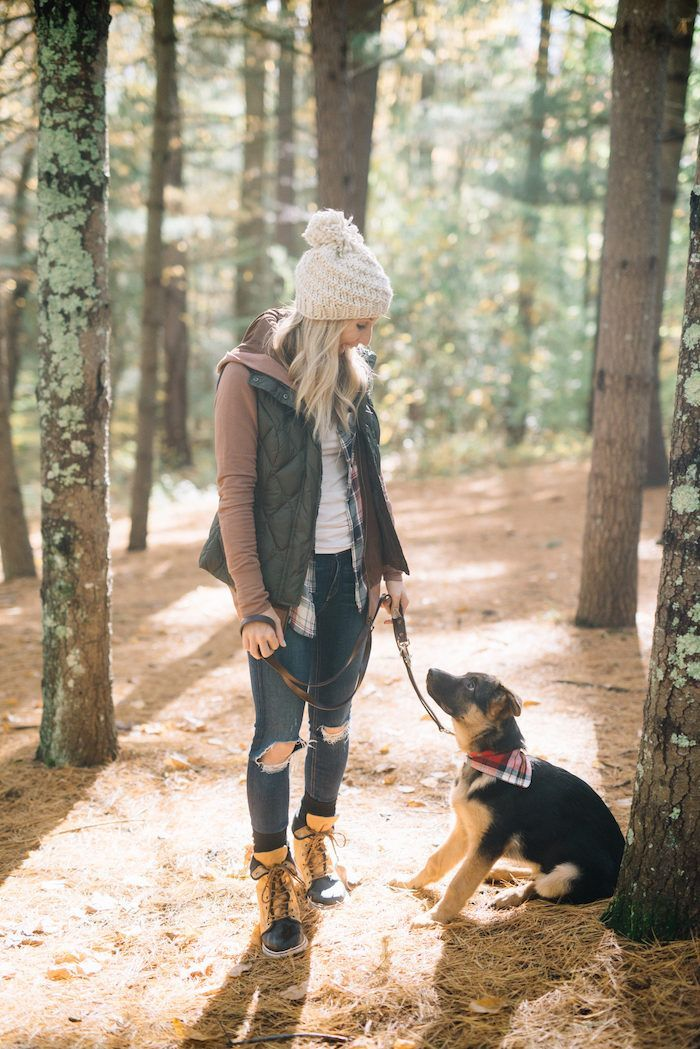 Cute and comfortable outfit for walking around or a walk in the woods with your pet.