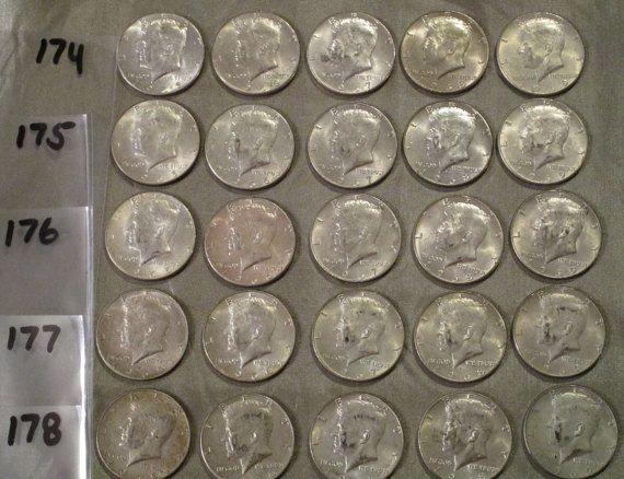 Kennedy Half Dollar Silver Coin Lot, Old Coin, Vintage Coin, Collectible Coin, 40 Percent Silver Coin, 50 Cent,  Coin Collecting
