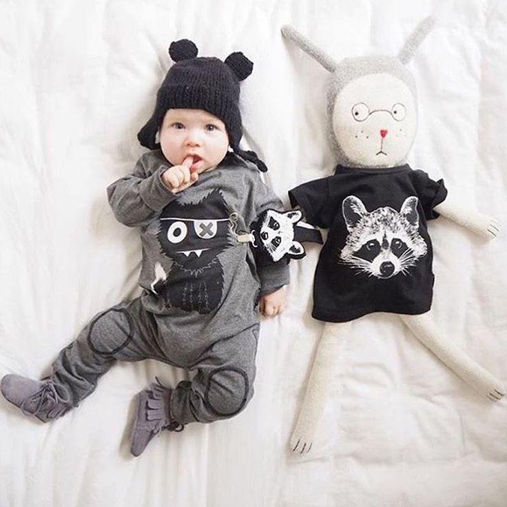2016 весной мода мальчик / девушка одежду с рукавами ребенка комбинезон новорожденный хлопок маленькие монстры комбинезон детской одежды bebes купить на AliExpress