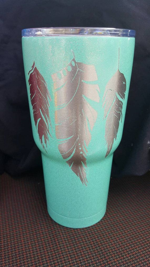 Check out this item in my Etsy shop - Contemporary chic feather tumbler: https://www.etsy.com/listing/476712843/feather-rtic-30oz-tumbler-painted