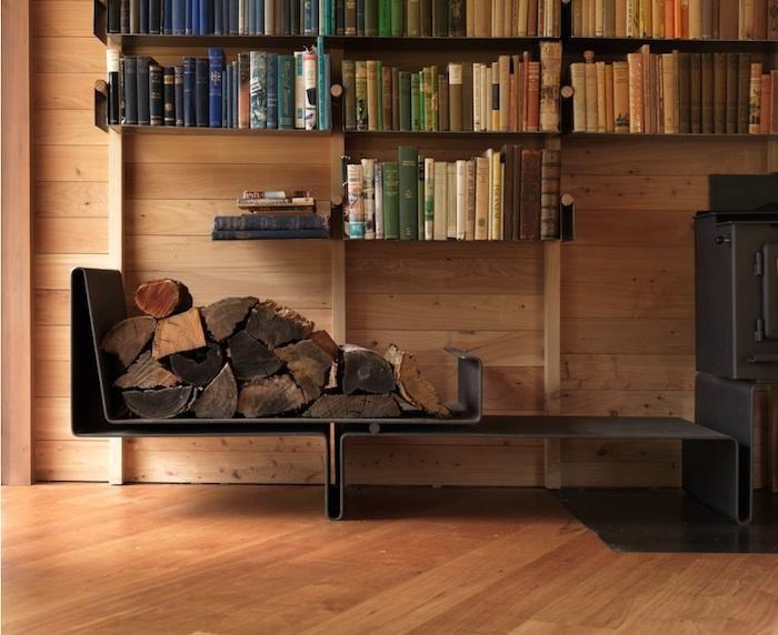 bookshelf + wood burning stove