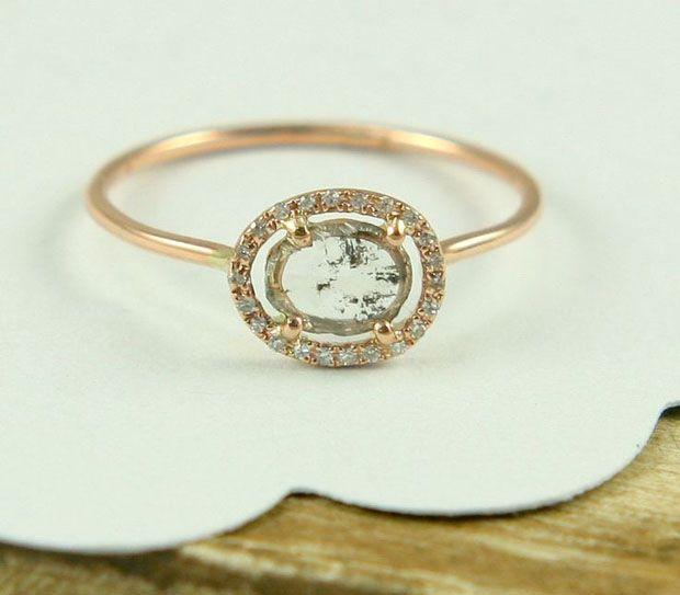 Rose Cut Diamond Slice Ring, Rose Gold Diamond Ring, Engagement Ring In 14K Gold