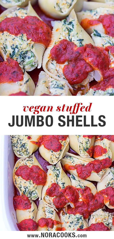 Vegan Stuffed Jumbo Shells With Spinach Stuffed Jumbo Shells With Cashew Tofu Ricotta And Spin Vegan Stuffed Shells Vegan Italian Recipes Vegan Dinner Recipes