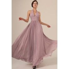 Halter Neck Pleated Bodice And Waistband Long Prom Dress Evening Party Gown