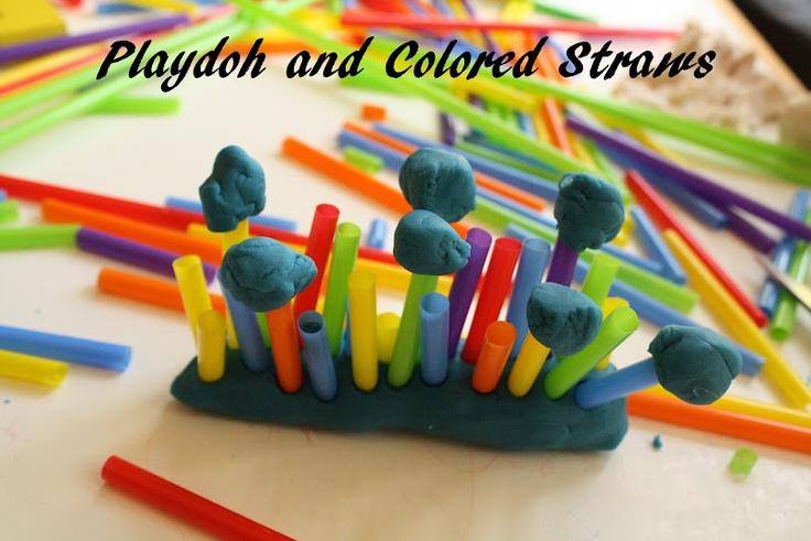 playdoh and colored strawsPlays Doh, Plays Dough, Kids Activities, Diy Playdoh, Preschool Sensory, Children Toys, Playdoh Toys, Baby Toys, Kids Toys