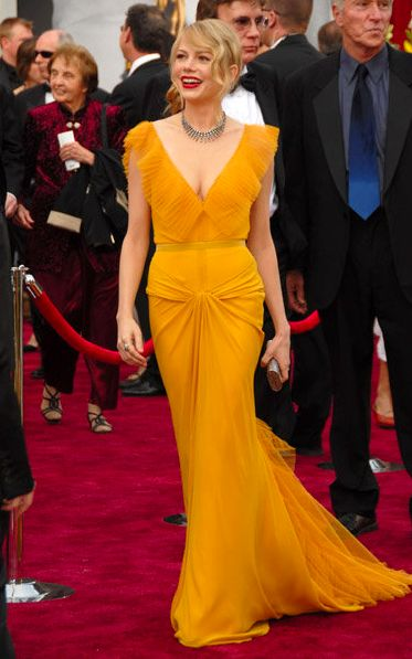 yellow: Vera Wang, Evening Dresses, Prom Gowns, Red Carpets Looks, Michelle Williams, Oscars Dresses, Red Carpet Dresses, Michele Williams, Red Carpets Dresses