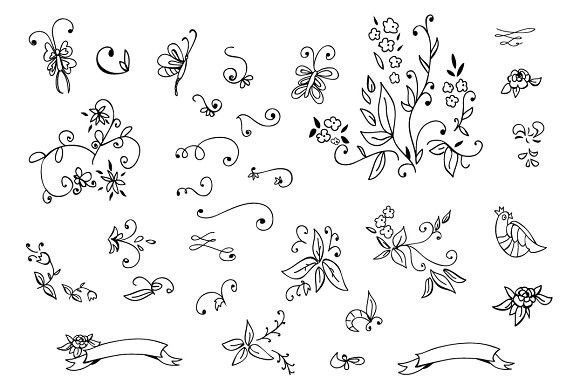 Hand drawn floral design elements. Wedding Card Templates