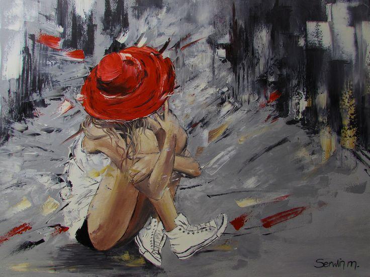 Dziewczyna w kapeluszu Olej 70/50 cm