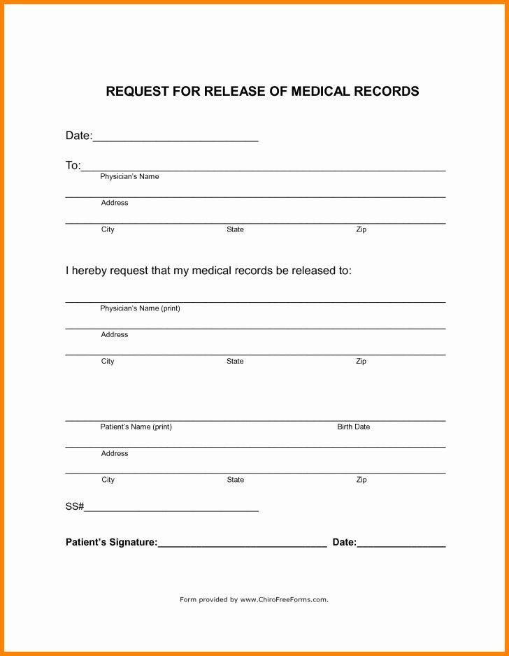 Medical Records Form Template Unique Form Generic Medical Records Release Form Medical Records Medical Templates