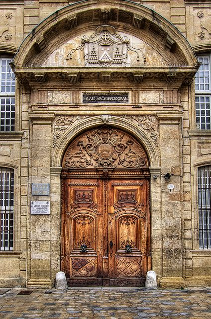 "Aix en Provence - Main entrance door to the Archbishop's Palace, nowadays also hosting the ""Musee des Tapisseries"""