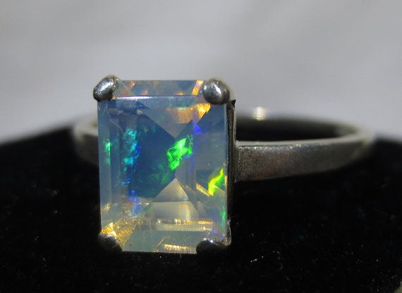 Natural Ethiopian Opal Ring  Emerald Cut   by BimBamNation on Etsy