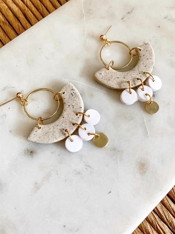 RYAN in Stone | Polymer Clay Statement Earrings, Modern Earrings, Handmade Earrings
