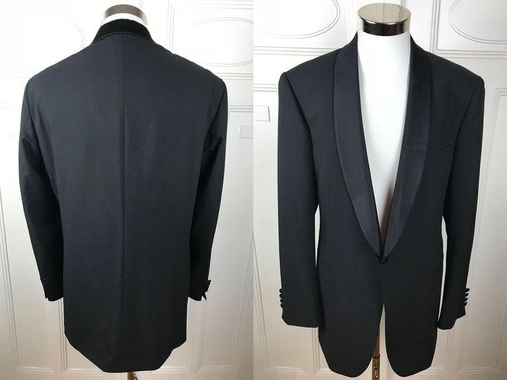 German Vintage Tuxedo Jacket, Black Single-Breasted Silk Shawl Collar European Smoking Jacket, Black Dinner Jacket: Size 44 (US/UK) by YouLookAmazing on Etsy