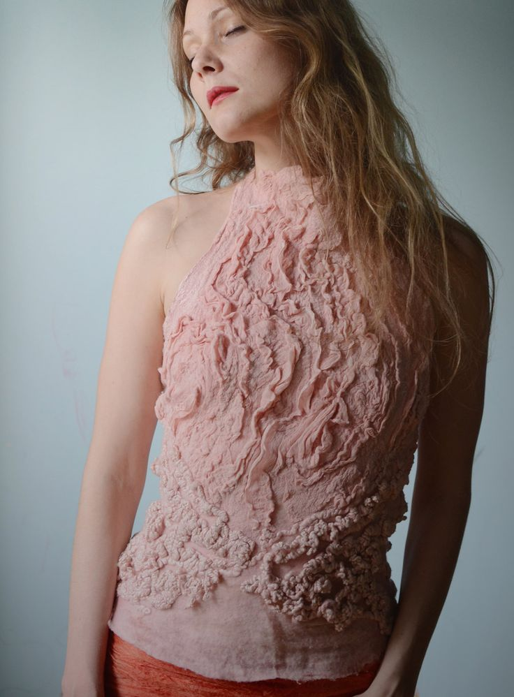 Eco fashion top  Nuno felted top in light classic rose par vilte, $339,00
