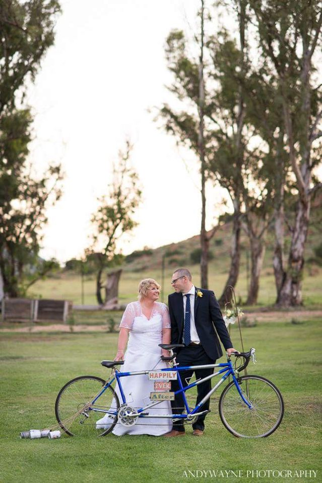 Wedding bride and groom with bicycle made for two #wedding #chooseandywayne #photography