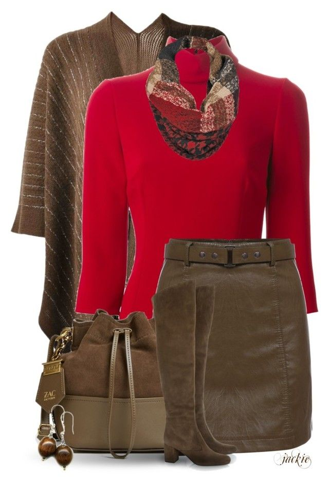 """""""Brown and Red"""" by jackie22 ❤ liked on Polyvore featuring Dolce&Gabbana, ZAC Zac Posen, Black Rivet, Yves Saint Laurent, leatherskirt, poncho, bucketbag, redandbrown and OverTheKneeBoots"""