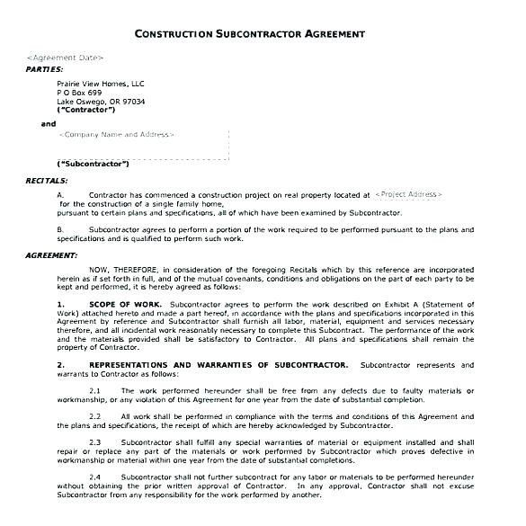 Construction Subcontractor Agreement Template Inspirational Construction Subcontract Template Contract Template Subcontractors Templates