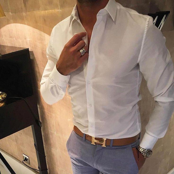 White shirt #hermesbelt and light blue pants by @hugobanha [ http://ift.tt/1f8LY65 ]