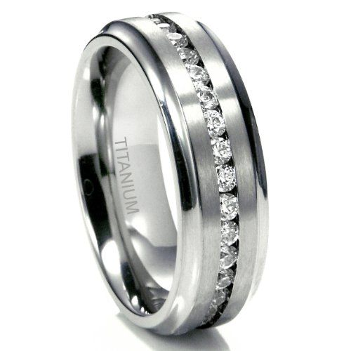7MM Mens Eternity Titanium Ring Wedding Band With CZ W FREE Gift Box Sz 110