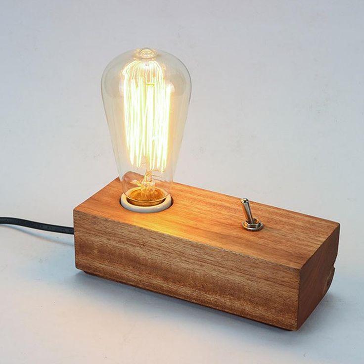Fashion DIY Bedroom Modern Edison Wooden Table Lighting